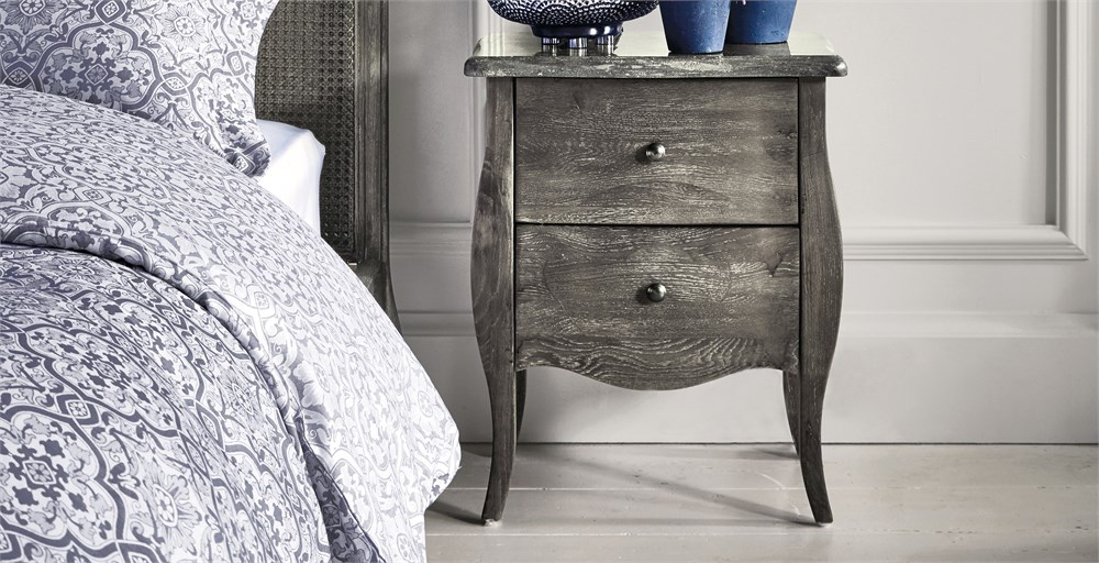 Vizelle Grey Stone Top Bedside